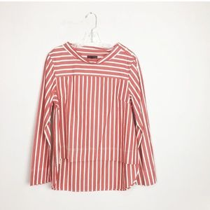 J. Crew red and white striped hi low boatneck top